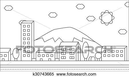 Ausmalbilder Landschaft Von Villag Clipart K30743665