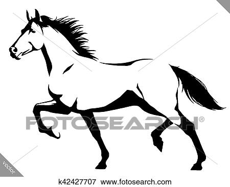 Clip Art Of Black And White Linear Paint Draw Horse Vector