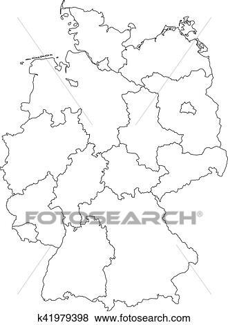 Carte Allemagne Noir Et Blanc.Carte De Allemagne Divise A Federal Etats Clipart