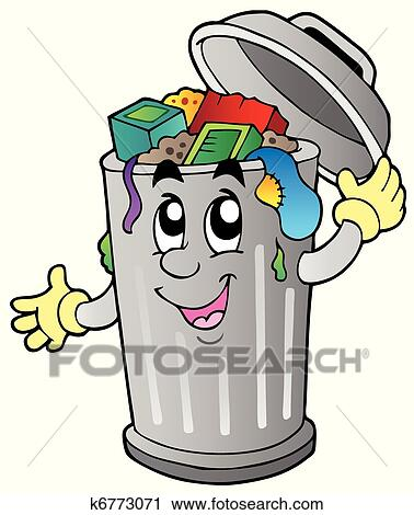 clipart of cartoon trash can k6773071 search clip art rh fotosearch com garbage can clipart free garbage can clipart