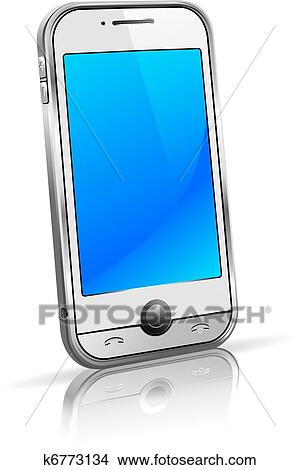 Stylish Modern Cell Mobile Phone On A White Background With Reflection