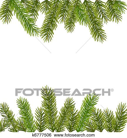 christmas tree branches border over white - Christmas Tree Branches