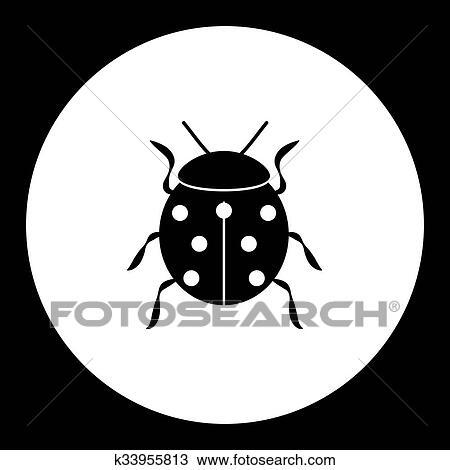 Coccinelle Symbole clipart - coccinelle, animal, symbole, simple, noir, icône, eps10
