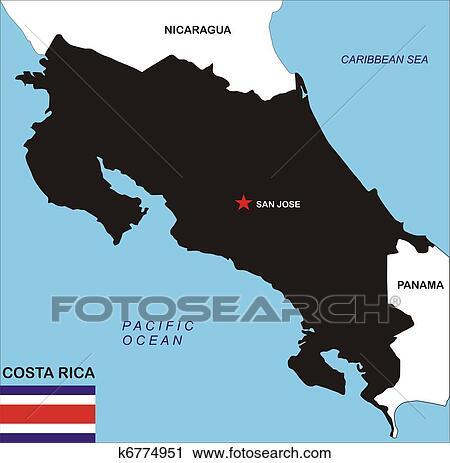 Clipart Of Costa Rica Map K6774951 Search Clip Art Illustration