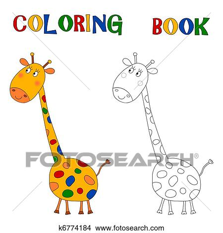 Drawings of Giraffe - Coloring book k6774184 - Search Clip Art ...