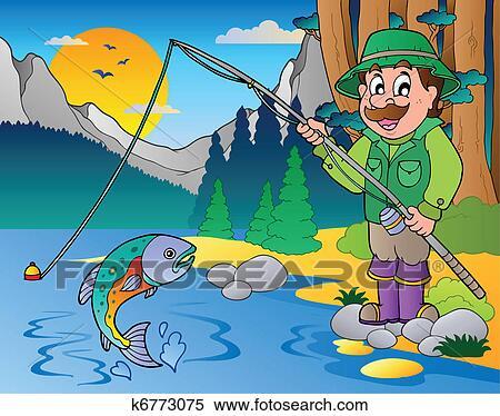 Lago con cartone animato pescatore 1 clipart for Lago disegno