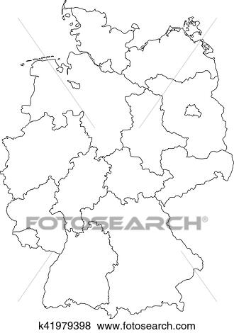 Map Of Germany Divided.Clip Art Of Map Of Germany Divided To Federal States K41979398