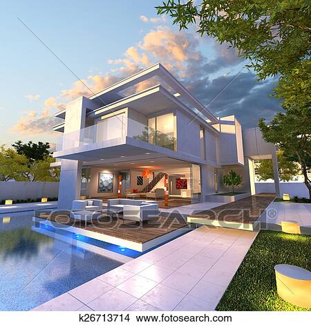 3D Rendering Of Impressive Villa With Pool Late Afternoon