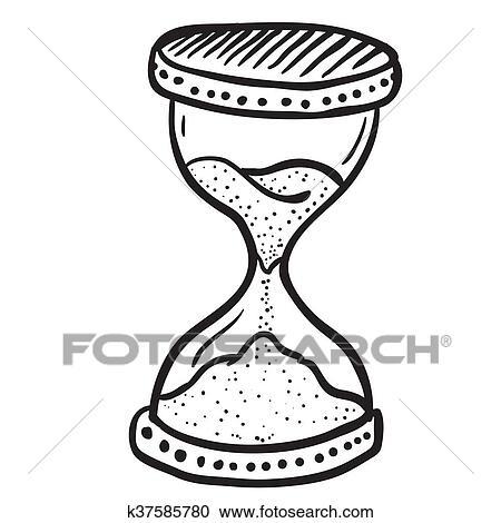 Clipart Negro Y Blanco Reloj De Arena K37585780 Buscar Clip Art