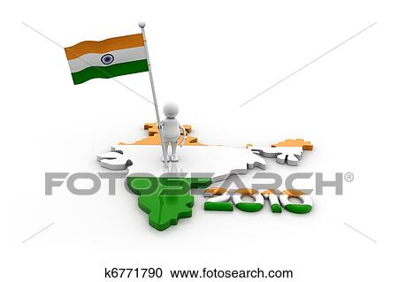Person with Indian flag and map Clipart on indian print with flag, indian map with key, indian man with flag, india flag,