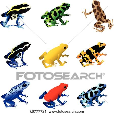 clipart of poison dart frogs k6777721 search clip art rh fotosearch com Red-Eyed Tree Frog Poison Dart Frog Drawing