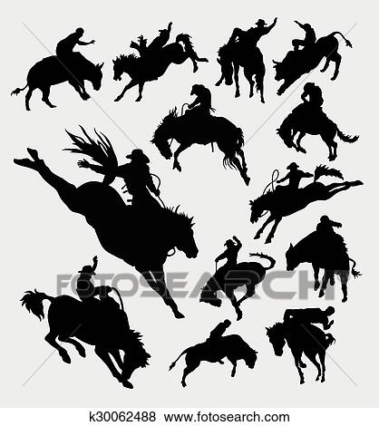 Clip Art - Rodeo cowboy riding animal silhouet. Fotosearch - Search Clipart def6d28c945