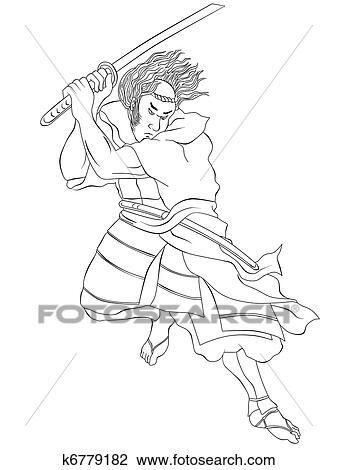 Kleurplaat Free Running Clip Art Of Samurai Warrior With Katana Sword Fighting
