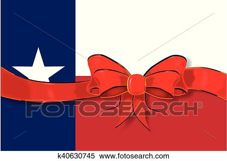 Clipart Of Texas Flag Ribbon K40630745