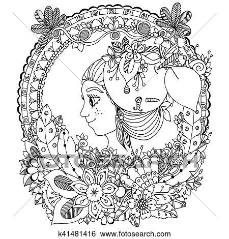 Clip Art - vector, ilustración, zentangl, niña, en, el, floral ...