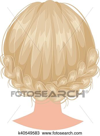 Clipart Of Vector Woman Hairstyle Back View K40549583 Search Clip