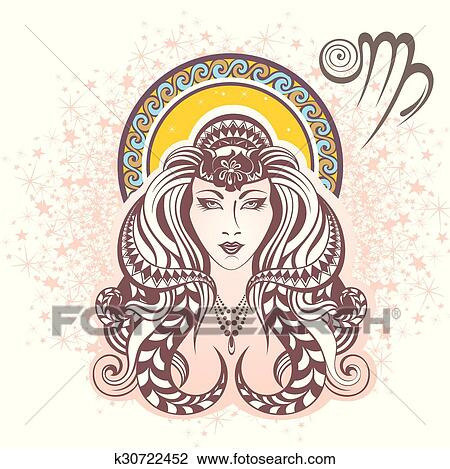 Clipart of a Zodiac Horoscope Astrology Virgo Design in Black and White -  Royalty Free Vector Illustratio… | Virgo symbol, Free vector illustration,  Astrology virgo