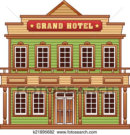 Clipart Of Wild West Grand Hotel Building K21895682