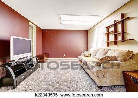 Kleur Woonkamer Muur : Stock afbeelding woonkamer met contrast kleur muren k22343595