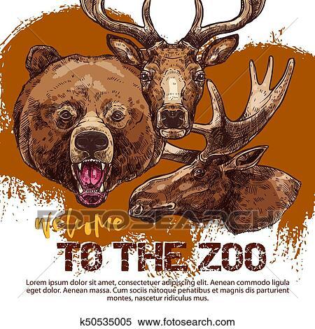 Quadro su tela illustrazione vettoriale con cute orso stile