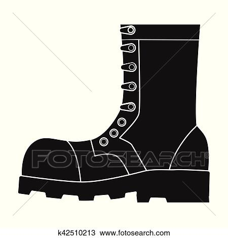 Army combat boots icon in black style isolated on white