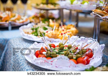 Stock Image Of Buffet Table Canape Sandwiches Snacks