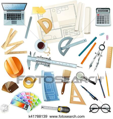 Clip art of construction architect tools set k41788139 search clip art construction architect tools set fotosearch search clipart illustration posters ccuart Images