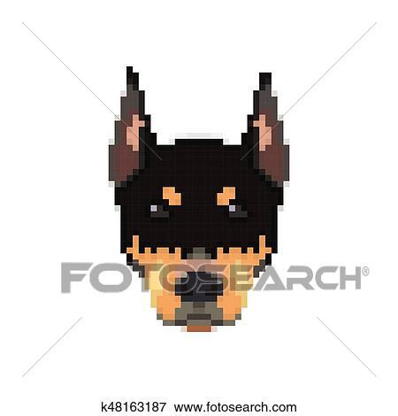 Doberman Head In Pixel Art Style Clip Art