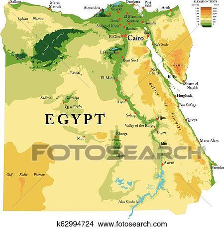 Egipt Fizyczny Mapa Klipart K62994724 Fotosearch