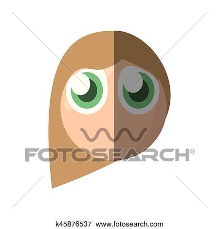 Giallo personaggio dei cartoni animati emoticon vettoriale eps