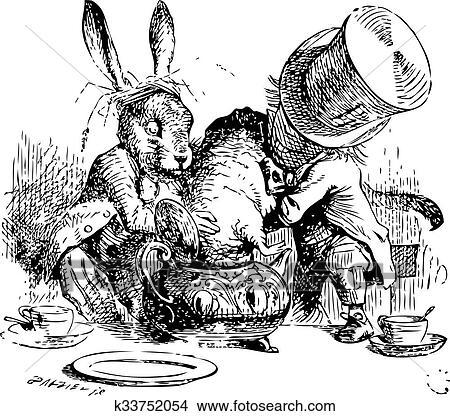 Clipart - enojado, sombrerero, y, marzo, liebre, remojar, el ...