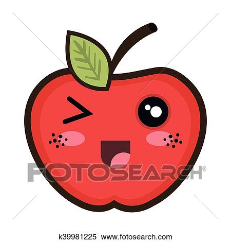 Kawaii Dessin Animé Pomme Clipart