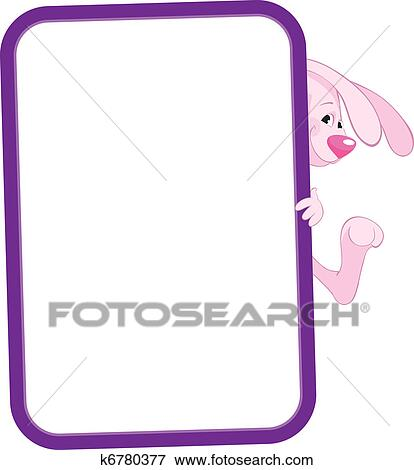 Clip Art of Label frame rabbit k6780377 - Search Clipart ...