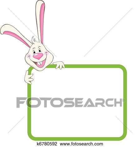 Clipart of Label frame rabbit k6780592 - Search Clip Art ...