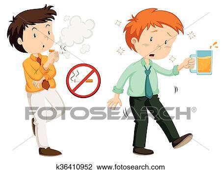 Clipart Leute Rauchende Und Trinken Alkohol K36410952 Suche