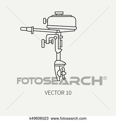 Line Flat Vector Fisher And Camping Icon Outboard Motor Fisherman Equipment Retro Cartoon Style Holiday Travel Spinning Lake Boat Nature Illustration And Element For Your Design And Wallpaper Clipart K49606523 Fotosearch