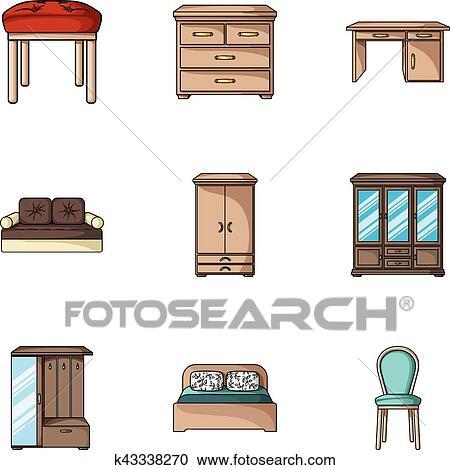 Clipart mobilia e casa interno set icone in for Mobilia in inglese