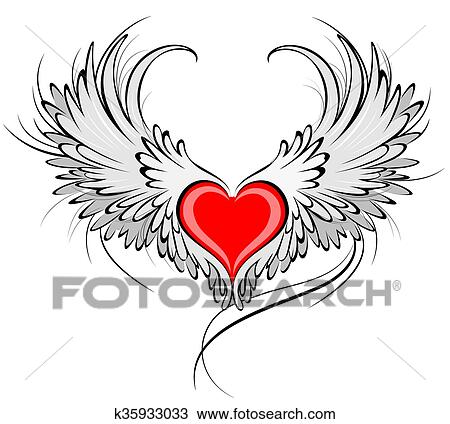 Red Heart Of An Angel Drawing K35933033 Fotosearch