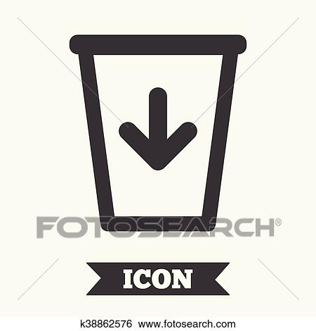 Clip Art Of Send To The Trash Icon Recycle Bin Sign K38862576
