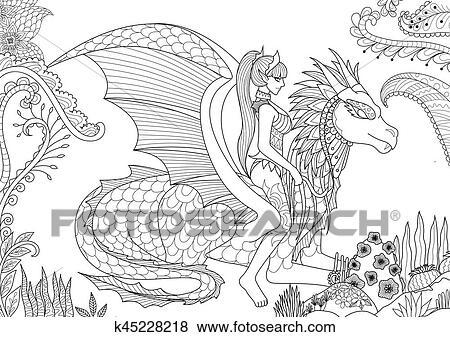 Clip Art - sexy, reina, equitación, un, dragron k45228218 - Buscar ...