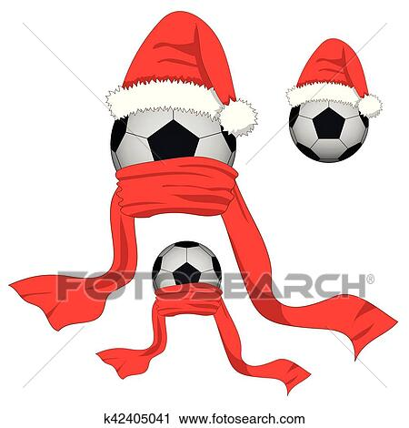 Christmas Day Clipart.Soccer Ball Football Ball With Santa Hat And Red Scarf Christmas Day Clipart