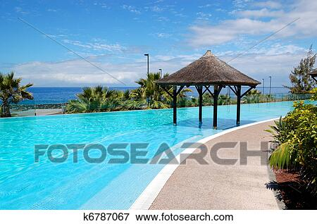 Picture Of Swimming Pool With Bali Type Hut And Beach Of Luxury
