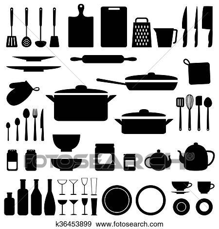 Clip Art - vettore, silhouette, di, cucina, attrezzi k36453899 ...