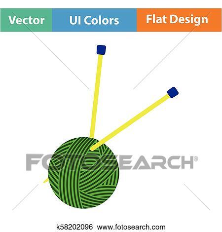 yarn ball with knitting needles icon clip art k58202096