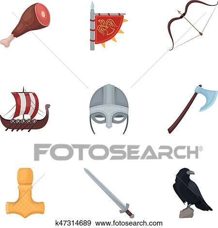 Clip Art Of Ancient Warriors Of The Vikings On The Ship Outfit And
