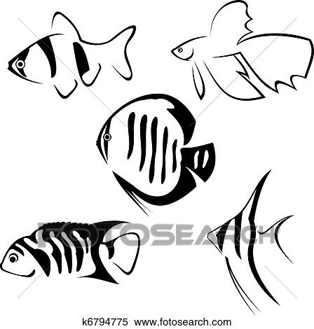 Clipart Of Aquarium Fish Line Drawing K6794775 Search Clip Art