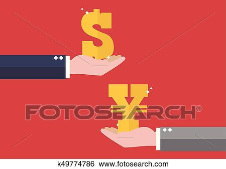 Clip Art Currency Exchange Dollar And Yen Fotosearch Search Clipart Ilration Posters