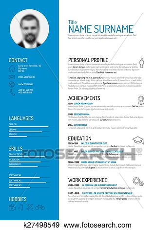 Clip Art of cv / resume template k27498549 - Search Clipart ...