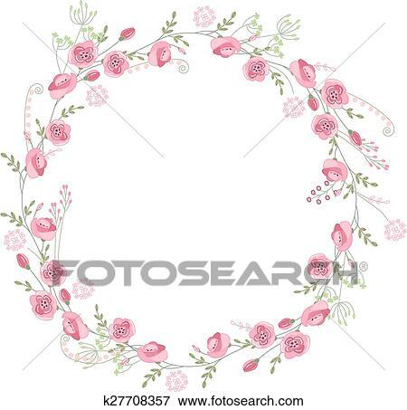 Clipart Détaillé Contour Couronne à Herbes Roses Et Fleurs