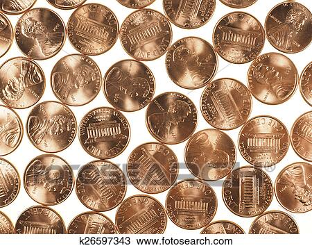 Dollar Coins 1 Cent Wheat Penny Cent Stock Image K26597343